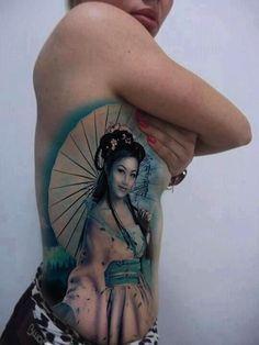 Realisitic geisha with an umbrella #TattooModels #tattoo