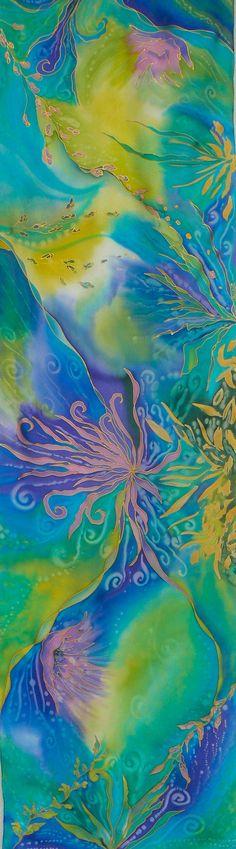 Bufanda de seda turquesa mano pintado cal violeta azul por Irisit