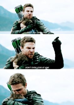 """#Arrow 5x23 """"Lian Yu"""" - """"Don't you talk to him! DON'T EVEN LOOK AT HIM?"""" - #OliverQueen #WilliamClayton"""
