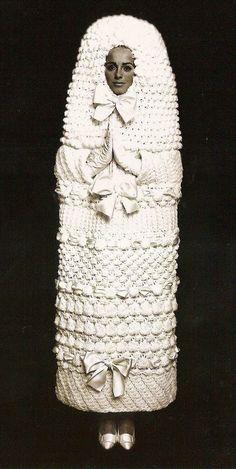 YSL knitted wedding dress 1965 Ugliest Wedding Dress, Funny Wedding Dresses, Wedding Dress Fails, Weird Wedding Dress, Unusual Wedding Dresses, Crochet Wedding Dresses, Egyptian Wedding Dress, Wedding Attire, Modest Wedding