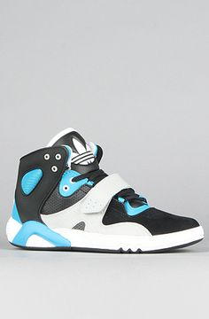 adidas  The Roundhouse Mid Sneaker in Black, Turquoise, & White