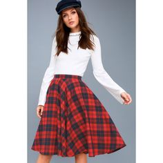 Lulus  Bristol Navy Blue and Red Plaid Flannel Midi Skirt ($49) ❤ liked on Polyvore featuring skirts, red, navy blue skirt, midi skirts, red plaid skirt, navy skirts and knee length circle skirt
