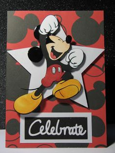 Celebrate (using Mickey and Friends, George and Basic Shapes, and Wild Card) - Kathie Theme Mickey, Mickey Party, Elmo Party, Dinosaur Party, Disney Mickey, Birthday Cards For Boys, Bday Cards, Husband Birthday, Disney Scrapbook Pages