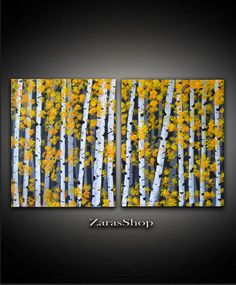Original Contemporary set of two abstract white birch trees acrylic painting with bright yellow leaves on a dark background is perfect for family
