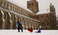 20 Jan. Sledging in St Albans, Hertfordshire: prolonged cold weather is likely to bring further travel delays.