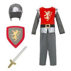 Un pantalon de la couleur d'une armure, un haut avec des manches en cotte de maille et un lion doré sur la poitrine, un casque, une épée et un bouclier : voici le déguisement du Chevalier au lion. La visière du casque peut aussi se positionner au niveau du menton du preux chevalier, pour le protéger davantage pendant les batailles. Ce chevalier au lion est majestueux, courageux et prêt à vivre de grandes aventures à la cour du roi Arthur.