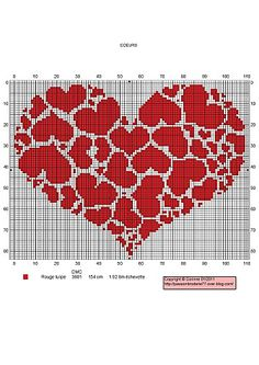 pleins de coeurs ... intarsia crochet pattern