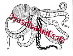 Coloring Page Downloadable Printable Octopus Ocean Art by CanadianArtBeats on Etsy