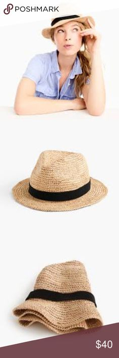 J. Crew Packable Raffia Straw Fedora Hat M/L NWT New With Tags J. Crew Packable Raffia Straw Fedora Hat with black grosgrain ribbon.  Size M/L  No trades.  Offers Welcome J. Crew Accessories Hats