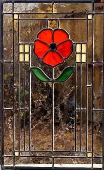 A bright orange poppy makes a perfect subject for an Arts & Crafts style kitchen cabinet door panel.