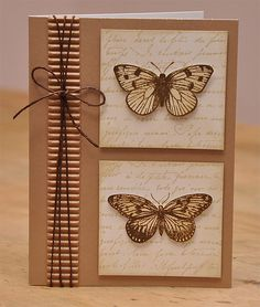 Twine with ribbon, kraft card with butterflies. like the texture and neutral colors. Making Greeting Cards, Greeting Cards Handmade, Paper Cards, Diy Cards, Karten Diy, Butterfly Cards, Butterfly Man, Card Tags, Gift Tags