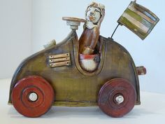 Clay Sculptures, Sculpture Art, Assemblage Art, Car Wheels, Ceramic Art, Fun Things, Art Projects, Whimsical, Automobile