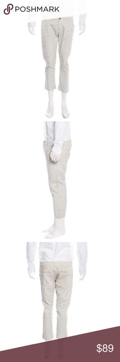 """ON HOLD*******Men's Pierre Balmain DistressedJeans Men's off white Gray mottled Pierre Balmain distressed cropped jeans with gold-tone hardware, five pockets, cuffed hems and zip button fly closure. Designer size 30/44.  Country of Origin: Italy  Waist: 36""""  Rise: 9.5""""  Inseam: 23""""  Leg Opening: 14""""  Fabric: 100% Cotton  No flaws. Excellent condition. All photos are of the actual pants you will receive. Pierre Balmain Jeans"""