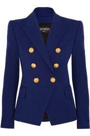 BalmainDouble-breasted stretch cotton-blend blazer