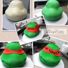 Ninja turtle cake tutorial this is how they're supposed to look - not this 2014 shit Ninja Cake, Tmnt Cake, Ninja Turtle Birthday, Turtle Party, Ninja Turtles, Ninja Turtle Cake Pops, Cake Decorating Techniques, Cake Decorating Tutorials, Decorating Cakes