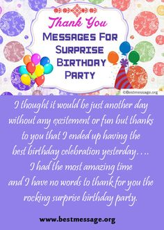 Birthday messages for daughter pinterest birthday messages best of thank you messages for surprise birthday party unique text messages collection to thank stopboris Choice Image