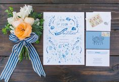 blue & peach stationery // romantic
