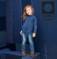 Mister Monkey and Misses Butterfly - baby- en kinderkleding - Lookbook - Inspiratie voor die schattige of stoere look | Mr Monkey & Mrs Butterfly - AW16 - Tumble 'n Dry - Girls - Shirt - Blouse - Denim Blue - Trendy - Fabulous look - Denim Look