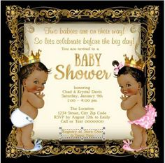 Boy And Girl Twins African American Twins Baby Shower By