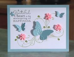 Butterflies Thank You Card, Stampin' Up Pursuit of Happiness.