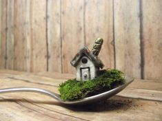 Miniature House raku fired caramic with chimney // by GypsyRaku, $17.00