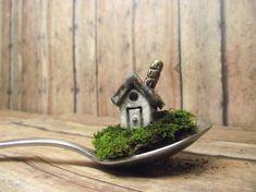 Miniature RAKU fired House with chimneyTerrarium by GypsyRaku, $15.00
