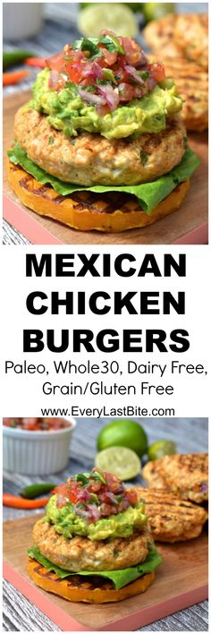 Chicken burgers packed with spicy mexican flavours & topped with salsa, guacamole and served on BBQ butternut squash. (Paleo, G. Paleo Recipes, Mexican Food Recipes, Cooking Recipes, Free Recipes, Vegetarian Mexican, Walnut Recipes, Dessert Recipes, Paleo Whole 30, Whole 30 Recipes