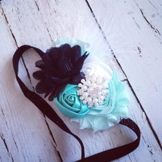 Breakfast at Tiffany's-aqua, teal, black, white baby headband-Tiffany & Co. inspired-birthday party-photography prop on Etsy, $13.00