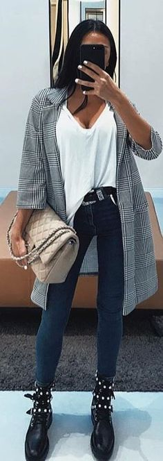 #winter #outfits white tank top and blue jenas