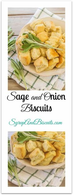 Sage Onion Biscuits are a great addition to the buttermilk cornbread in Traditional Buttermilk Cornbread Dressing. Sage, onion, garlic and black pepper also create a dinner biscuit that goes well along side poultry and pork. #biscuits #sage