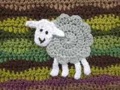This is a simple pattern for a small sheep appliqué motif - you can stitch flat crochet motifs to pretty much any crochet fabric - add a flock of sheep to blankets, bags, cushions or hats to add a little. Filet Crochet, Crochet Mignon, Crochet Sheep, Crochet Leaves, Crochet Fall, Crochet Fabric, Crochet Motifs, Easter Crochet, Crochet Cross