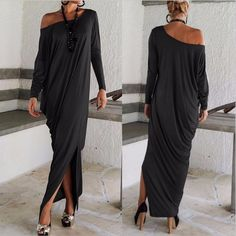 Платье женщины макси платья длинный рукав, осень стиль неправильная сверхразмерные без тары накидка дамы Vestidos купить на AliExpress