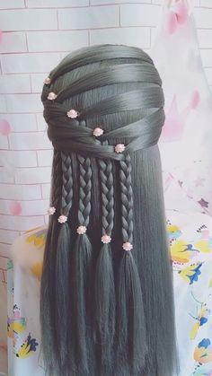 Hairdo For Long Hair, Long Hair Video, Easy Hairstyles For Long Hair, Braided Hairstyles, Hair Up Styles, Medium Hair Styles, Natural Hair Styles, Hair Style Vedio, Hair Tutorials For Medium Hair