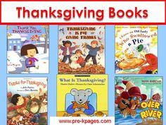 Thanksgiving books for preschool, pre-k, or kindergarten.