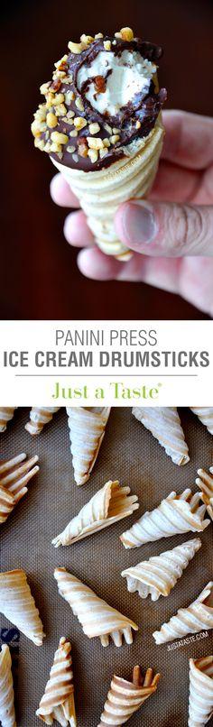 Panini Press Ice Cream Drumsticks #recipe on justataste.com
