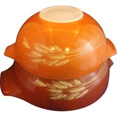 Pyrex Autumn Wheat Harvest Cinderella Mixing Bowls Pair 443 444 Sizes