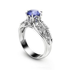 ac6c30ba06b48f Bluish Violet Tanzanite Engagement Ring Natural Tanzanite Ring in 14K White  Gold Unique Engagement Ring