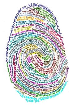 Typographic self portrait The final result combines your text, your handwriting, and your finger print to form a self portrait. Fingerprint Art, Thumb Prints, Identity Art, Writing Art, Middle School Art, Art For Art Sake, Elements Of Art, Art Journal Inspiration, Art Club