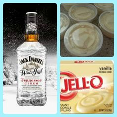 Winter Jack Pudding Shots  1 small Pkg. vanilla instant pudding ¾ Cup Milk 3/4 Cup Winter Jack , Jack Daniel's Tennessee Whiskey 8oz tub Cool Whip  Directions 1. Whisk together the milk, liquor, and instant pudding mix in a bowl until combined. 2. Add cool whip a little at a time with whisk. 3.Spoon the pudding mixture into shot glasses, disposable shot cups or 1 or 2 ounce cups with lids. Place in freezer for at least 2 hours Pudding Shot Recipes, Jello Pudding Shots, Jello Shot Recipes, Alcohol Recipes, Jello Shots, Jack Daniels Honey, Shot Cups, Honey Drink, Honey Whiskey