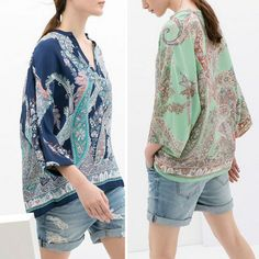 New 2014 Spring Summer Women's Plaisy Ethic Floral Print V- neck 3/4 Batwing Sleeve Loose Kimono Shirts Pullover Tee Tops Blouse