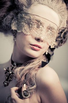 ☫ A Veiled Tale ☫ wedding, artistic and couture veil inspiration - Marie Antoinette's lace mask