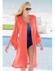 Roamans Plus Size Crochet Trim Swim Cover Up