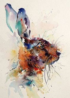 Hare Portrait (watercolor) – by Jake Winkle (would go beautifully with quote from watership down)  | followpics.co