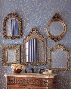 Wall Mirrors – Both Useful and Decorative – Wall Mirror Decor Mirror Gallery Wall, Mirror Collage, Wall Collage, Wall Mirrors, Vintage Mirrors, Vintage Decor, Mirror Inspiration, Wall Decor, Room Decor