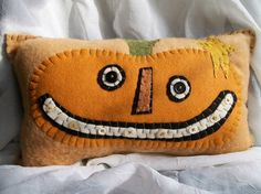 Big Smiley Pumpkin Face Pillow