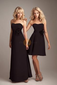 Pretty Flowers Strapless Sheath Chiffon Knee-length Bridesmaid Dresses