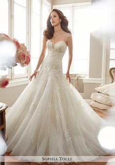 Strapless Misty Tulle Fit and Flare Gown | Sophia Tolli Y11715 Deon | http://trib.al/nevs3PZ