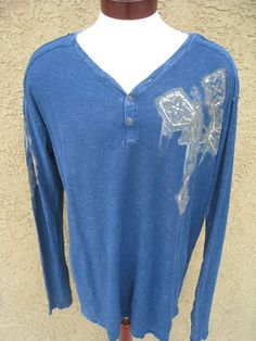 AFFLICTION Long Sleeve Shirt XL Tee Navy Henley Wings Foil V-Neck NEW FLAW