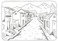 Landschaft ausmalbilder 10 A Lápiz De Tareas Creativa ? House Colouring Pages, Adult Coloring Pages, Coloring Books, Drawing Practice, Line Drawing, House Sketch, Perspective Drawing, Black And White Drawing, Drawing For Kids