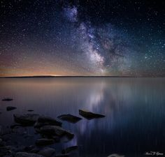 Milky Way Stars shine bright over Lake Oahe, South Dakota, by Aaron J. Groen, via 500px
